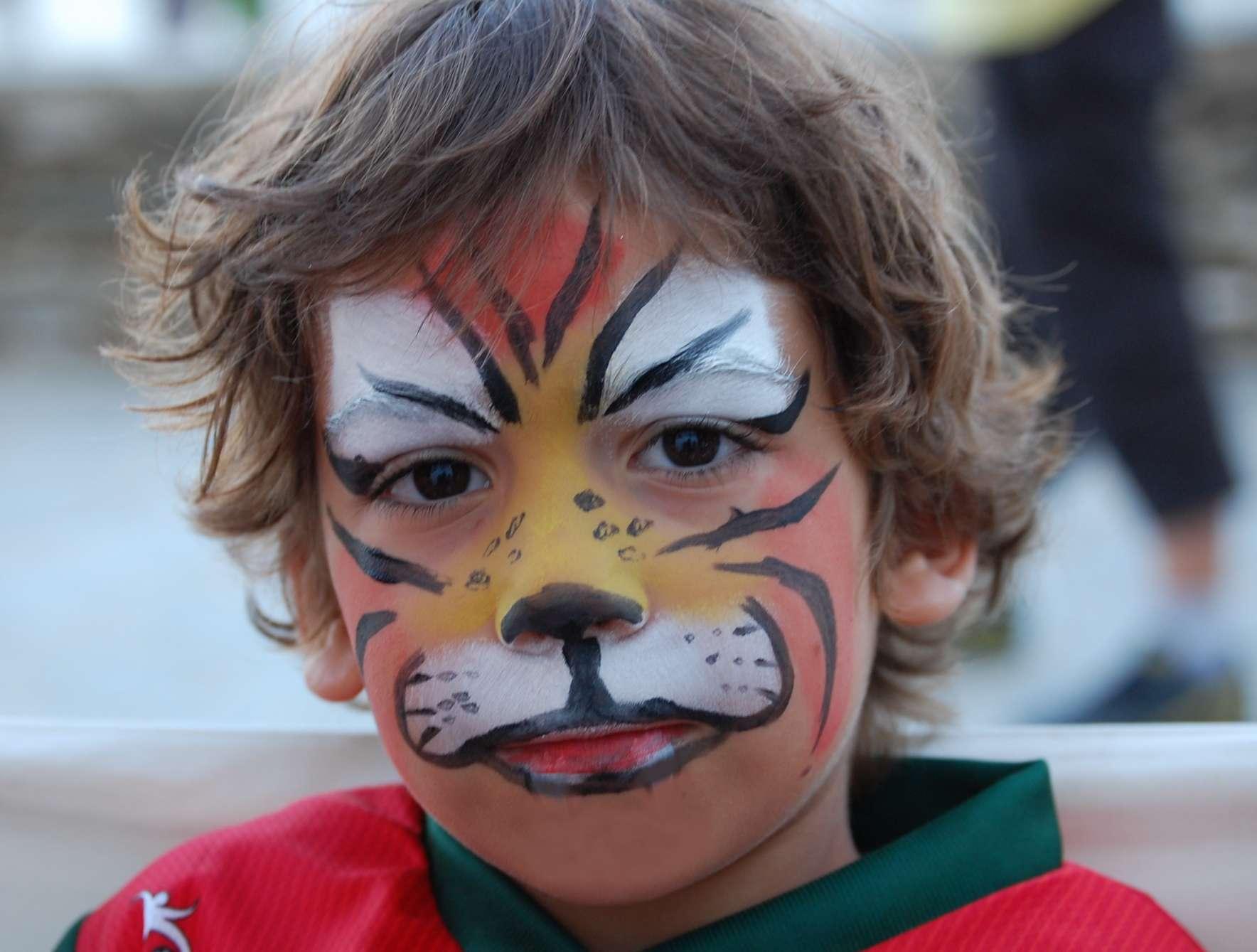 Αγόρι βαμμένο τίγρης σε παιδικό πάρτυ